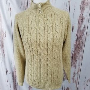 Vintage 80s tan cable knit pearl mock neck sweater